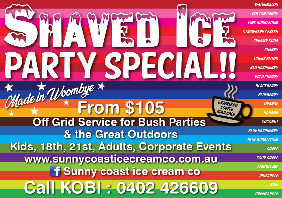 shaved ice for childrens parties and events on the sunshine coast